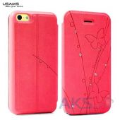 Чехол Usams Book case Batterfly for iPhone 5C Red