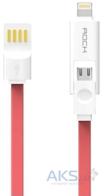 Кабель USB Rock Micro-Lightning Combo Cable 1M Red