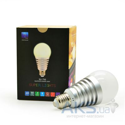 Светодиодная лампа SUPERLIGHT Bluetooth Smart light bulb for iOS/Android Silver (SU-750S)