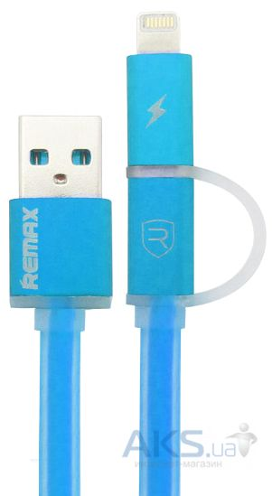 Кабель USB REMAX Aurora Cable Lightning+microUSB Blue