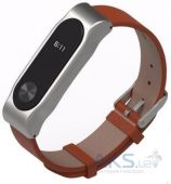 Mijobs PU Leather Band for Xiaomi MiBand 2 Brown