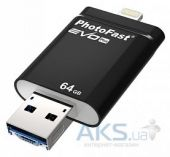 Гаджет PHOTOFAST i-Flashdrive EVO Plus 64Gb  (USB3.0-microUSB/Lightning) Black (EVOPLUS64GBU3)