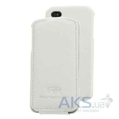Чехол Perfektum Leather Flip series iPhone 4/4S White