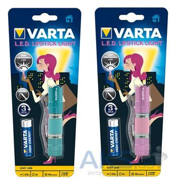 Фонарик Varta LED Lipstick Light 1AA Pink