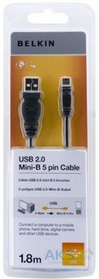 Кабель USB Belkin USB 2.0 (AM/miniUSB 5pin) 1.8м Black (F8J023bt04-BKhc)