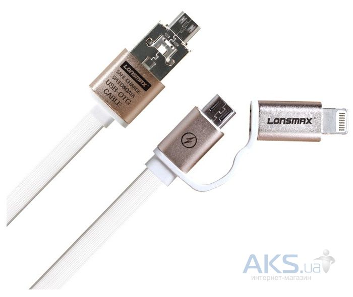 Кабель USB GOLF 2-in-1 Metal Flat Gold