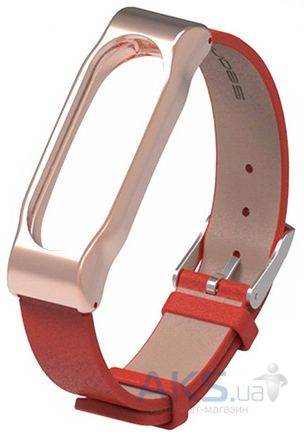 Mijobs Leather Band for Xiaomi MiBand 2 Red/Gold