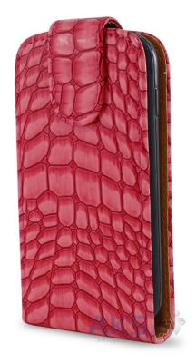 Чехол Flip Cover for Samsung S5690 Pink Croco