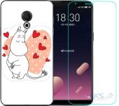 Чохол 1TOUCH Print Case Meizu 15 Lite White + Tempered Glass