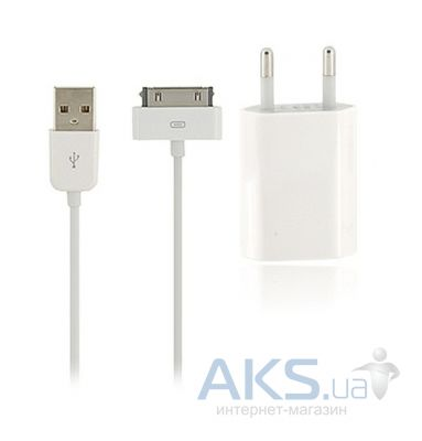 Зарядное устройство Apple Home charger (MB707ZM/B) + dock usb cable для iPhone 4