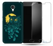Чохол 1TOUCH Print Case Meizu M3, M3 Mini Dark Green + Tempered Glass