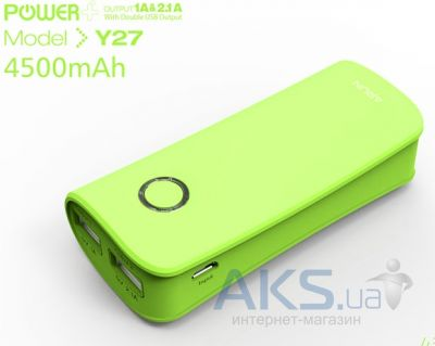 Внешний аккумулятор power bank Arun Power Bank  Y27 Dual USB output 4500mAh Green