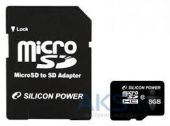 Карта памяти Silicon Power 8Gb microSDHC class 10 (SP008GBSTH010V10-SP)