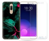 Чохол 1TOUCH Print Case Meizu M6T Green + Tempered Glass