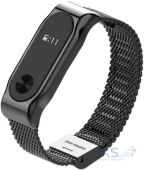 NICHOSI Steel Wicker Design for Xiaomi Mi Band 2 Black Strap