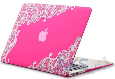 Чехол Kuzy Lace Print Rubberized Case for MacBook Air 13 Pink