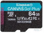 Карта памяти Kingston microSDXC 64GB Canvas Go Plus Class 10 UHS-I U3 V30 A2 (SDCG3/64GBSP)