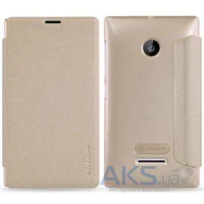 Чехол Nillkin Sparkle Leather Series Nokia Lumia 435 Dual Sim Gold