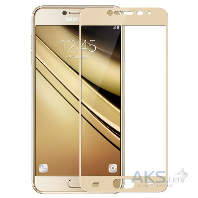 Защитное стекло Tempered Glass 3D Full Cover Samsung Galaxy C5 Gold