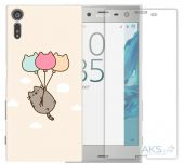 Чехол 1TOUCH Print Case Sony Xperia XZ F8332 Pink Beidge + Tempered Glass