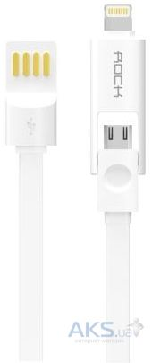 Кабель USB Rock Micro-Lightning Combo Cable 1M White