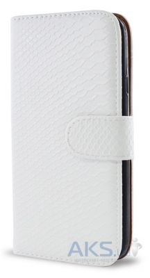 Чехол Turned Around Book for Samsung S5690 White Croco