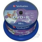 Диск Verbatim DVD+R 4.7Gb 16X CakeBox 50шт WidePrintable (43512)
