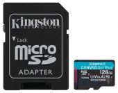 Карта памяти Kingston microSDXC 128GB Canvas Go Plus Class 10 UHS-I U3 V30 A2 + SD-адаптер (SDCG3/128GB)