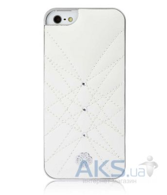 Чехол UUnique Luxury Nappa Leather Hard Shell with Crystals Apple iPhone 5, iPhone 5S, iPhone 5SE White