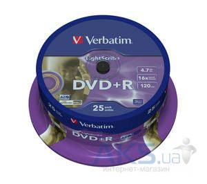 Диск Verbatim DVD+R  4.7Gb 16X CakeBox 25шт Silver (43500)