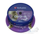 Вид 1 - Диск Verbatim DVD+R  4.7Gb 16X CakeBox 25шт Silver (43500)