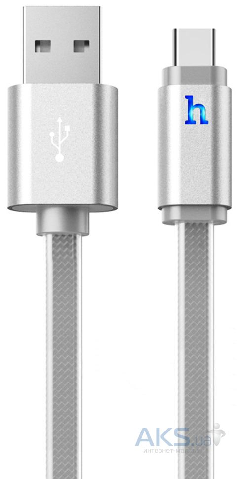 Кабель USB Hoco Metal Jelly Knitted Type-C Silver (UPL12)