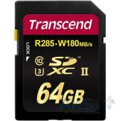 Карта памяти Transcend SDXC 64 GB UHS-II Ultimate U3 (R285, W180MB/s)