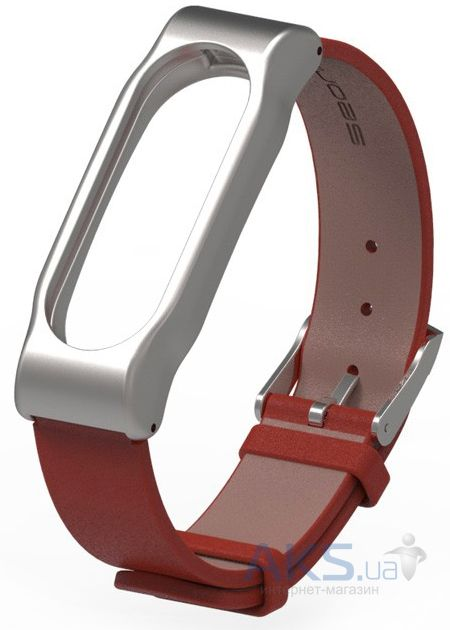 Mijobs Leather Band for Xiaomi MiBand 2 Red/Silver