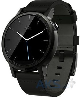 Умные часы Motorola Moto 360 2nd Generation 42mm Stainless Steel with Black Leather Strap
