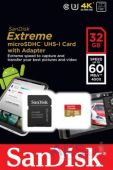 Карта памяти SanDisk 32GB microSDHC Class 10 Extreme UHS-3 (R60/W40MB/s)+ SD Adapter (SDSDQXN-032G-G46A)