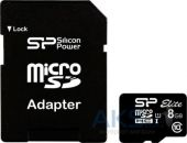 Карта памяти Silicon Power 8 GB microSDHC  Class 10 UHS-I Elite + ad (SP008GBSTHBU1V10-SP)