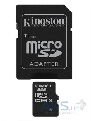Карта памяти Kingston 8GB microSDHC class 10 + SD Adapter (SDC10/8GB)