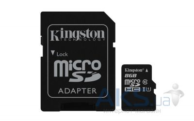 Карта памяти Kingston 8GB microSDHC Class 10 UHS-I R45/W10MB/s + SD Adapter (SDC10G2/8GB)