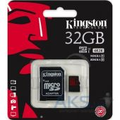 Вид 2 - Карта памяти Kingston 32GB microSDHC Class 10 UHS-I U3 R90/W80MB/ s+ SD Adapter (SDCA3/32GB)