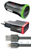 Зарядное устройство E-Power USB Home + Car Charger (2,1A) + Lightning Cable Black (EP812CHS)