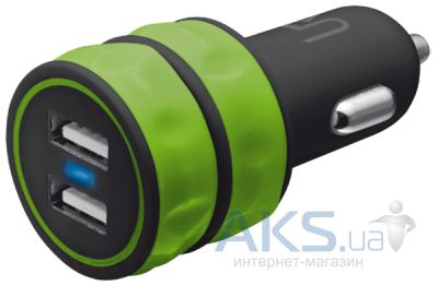 Зарядное устройство Trust Urban Revolt DUAL SMART CAR CHARGER (1A/1A) Green