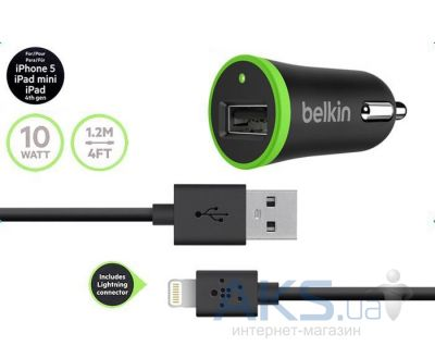 Зарядное устройство Belkin Car Charger + Lightning Cable (BK078) Black