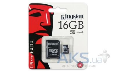 Вид 3 - Карта памяти Kingston 16GB MicroSDHC Class 4 + SD Adapter (SDC4/16GB)