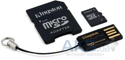Карта памяти Kingston microSDHC 16GB Class 4 +SD adapter +USB reader (MBLY4G2/16GB)