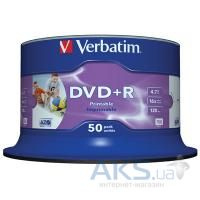 Диск Verbatim DVD+R  4.7Gb 16X CakeBox 50шт Print-White (43651)