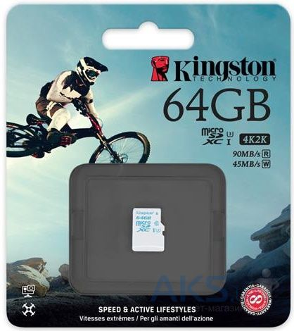 Карта памяти Kingston 64GB microSDXC C10 UHS-I U3 R90/W45MB/s (SDCAC/64GBSP)