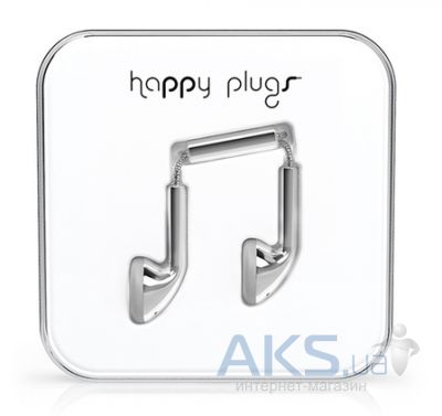 Наушники (гарнитура) Happy Plugs Headphones Deluxe Edition Earbud Silver