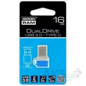 Вид 5 - Флешка GooDRam 16GB DualDrive C Blue USB 3.0 (PD16GH3GRDDCBR10)