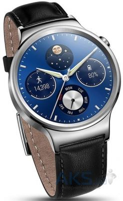 Умные часы Huawei Watch Silver (Stainless Steel with Black Leather Strap)